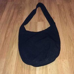 The Sak black woven open shoulder bag